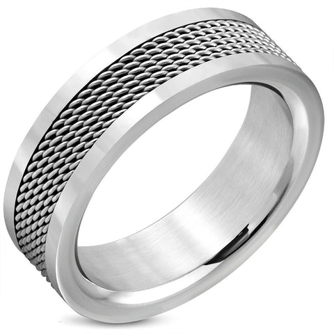 Stainless Steel Mesh Flat Band Ring - Rebelroad.co.za