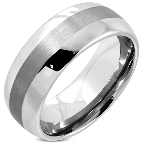 Tungsten Carbide Satin Finished Polished Ring - Rebelroad.co.za