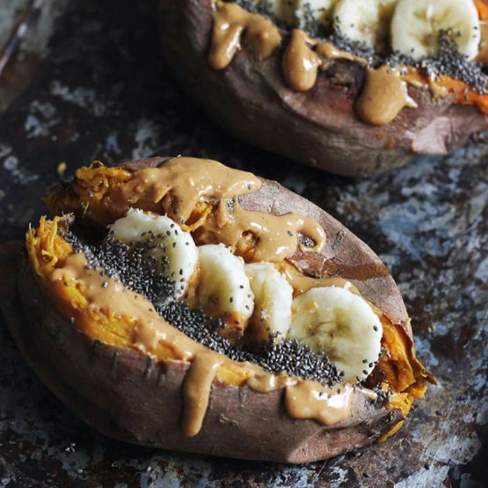 Baked Sweet Potato with Cinnamon Vanilla Nut Butter