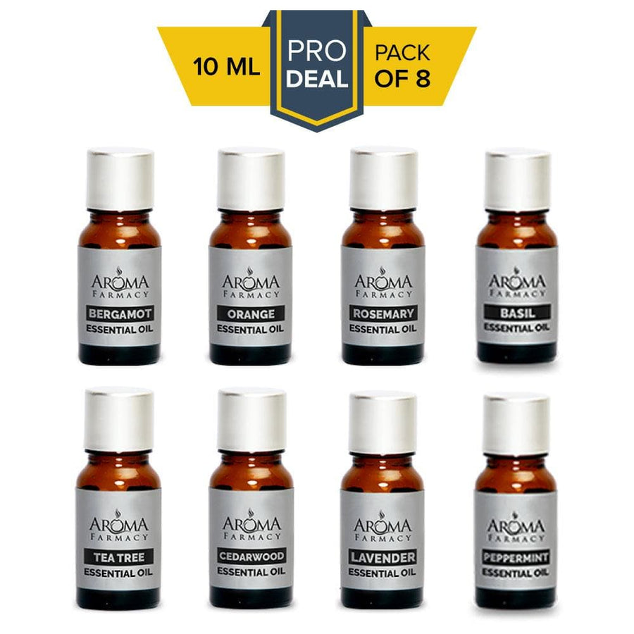 Set of 8 Essential Oils - 100% Pure & Natural (Undiluted) - Aroma Farmacy