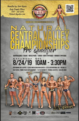 Natural Central Valley Championships flier with Colt featured in Classic Physique shorts.