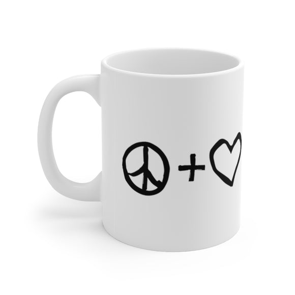 Peace + Love + Liberty = Happiness Mug
