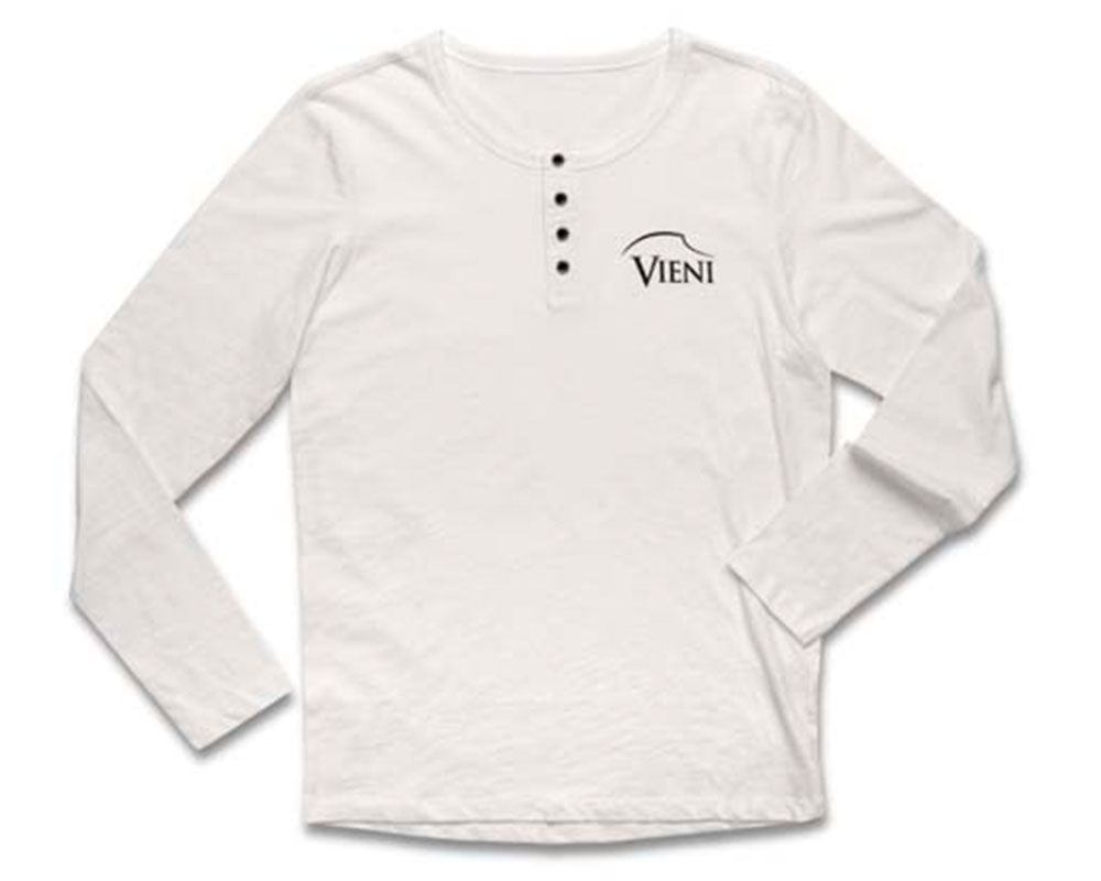 Men's White Vieni Henley Top