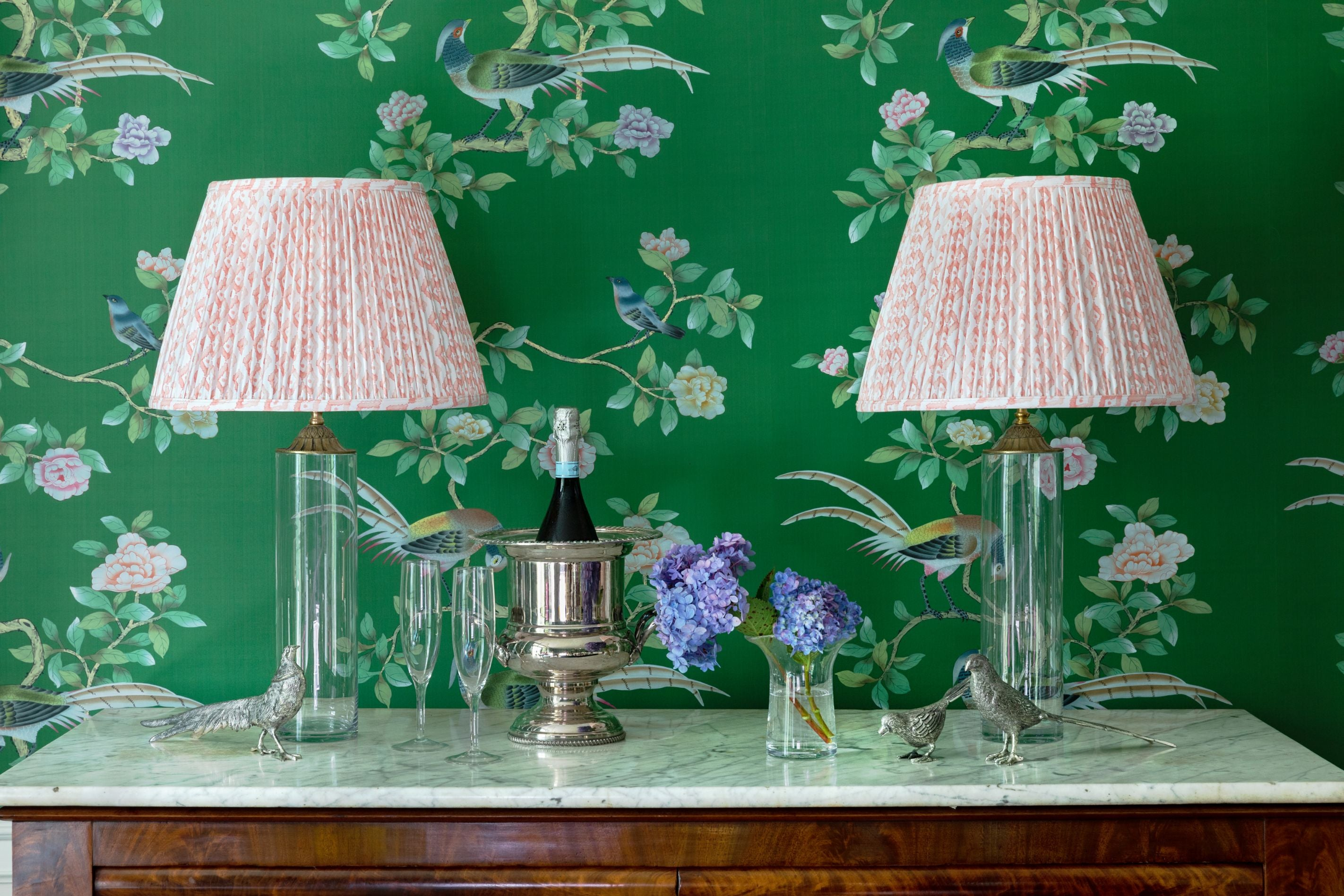 Patterned diamond lampshades.