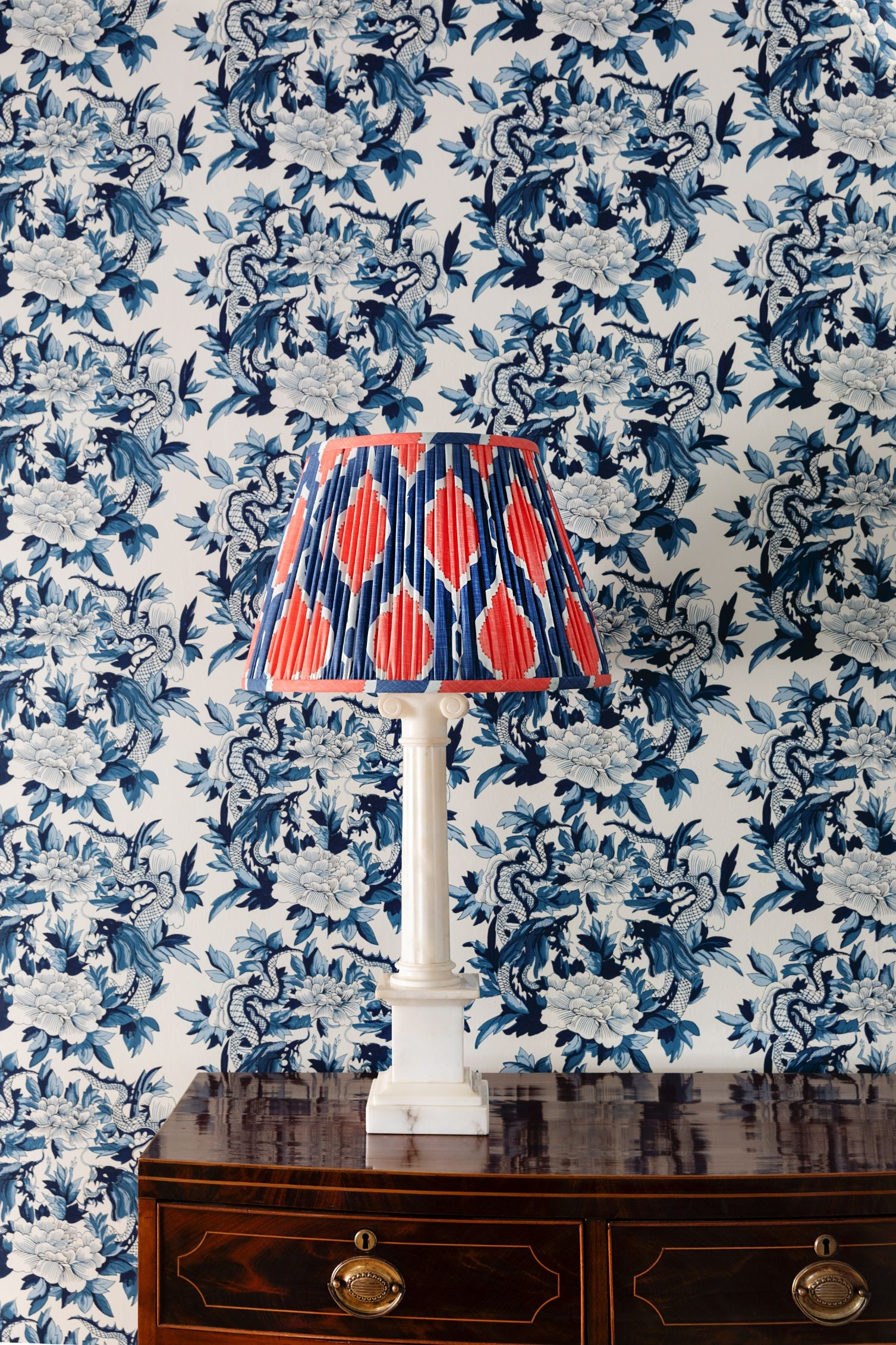 Red, white, and blue patterned lampshade.