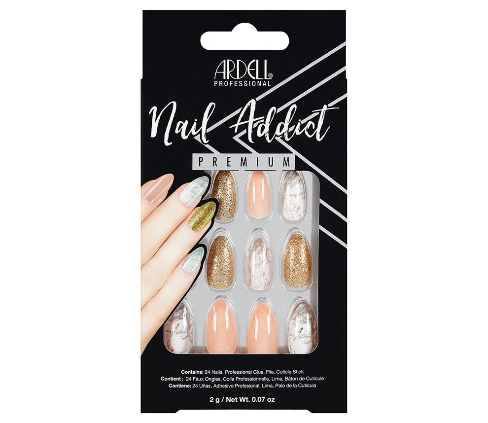 Ardell Nail Addict Premium Artificial Nail Set - Pink Marble & Gold