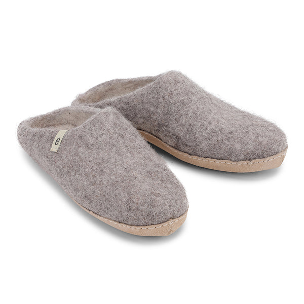 Fair Traded Natural Felted Slippers in Natural Grey