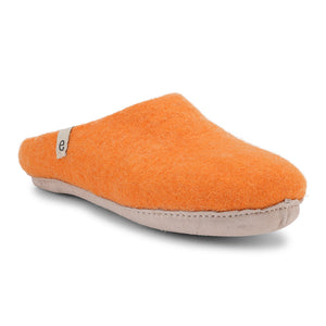 Egos Fair Traded Natural Felted Slippers in Orange