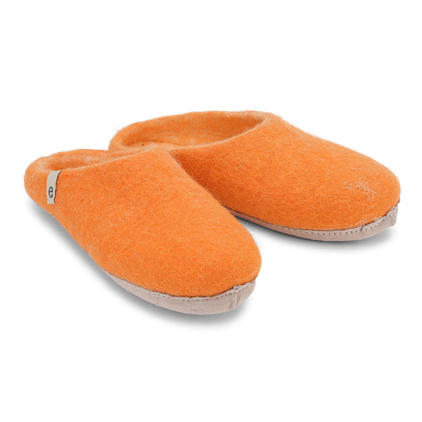 Fair Traded Natural Felted Slippers in Orange