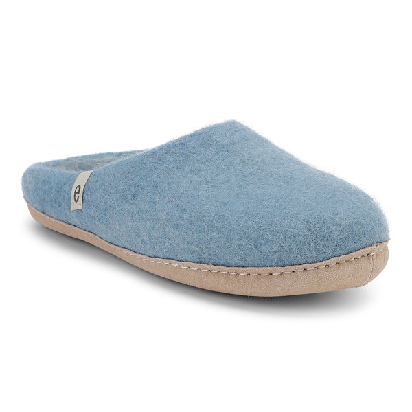 Fair Traded Natural Felted Slippers in Light Blue