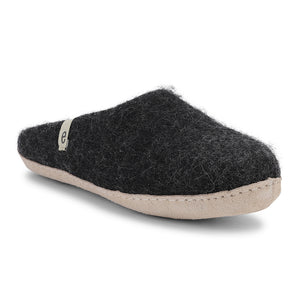 Egos Fair Traded Natural Felted Slippers in black