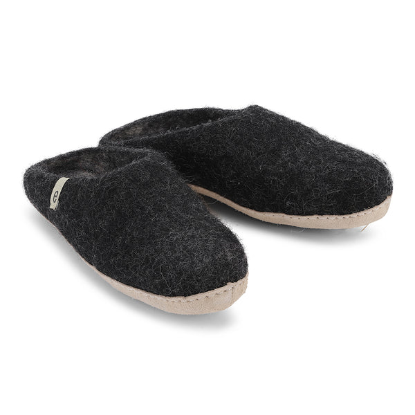 Fair Traded Natural Felted Slippers in Black