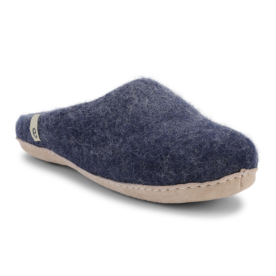 Egos Fair Traded Natural Felted Slippers in Blue