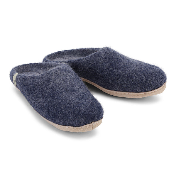 Fair Traded Natural Felted Slippers in Blue