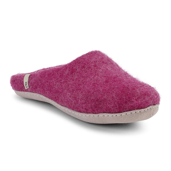 Fair Traded Natural Felted Slippers in Cerise
