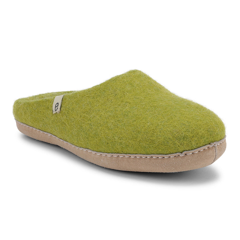 Fair Traded Natural Felted Slippers in Lime Green