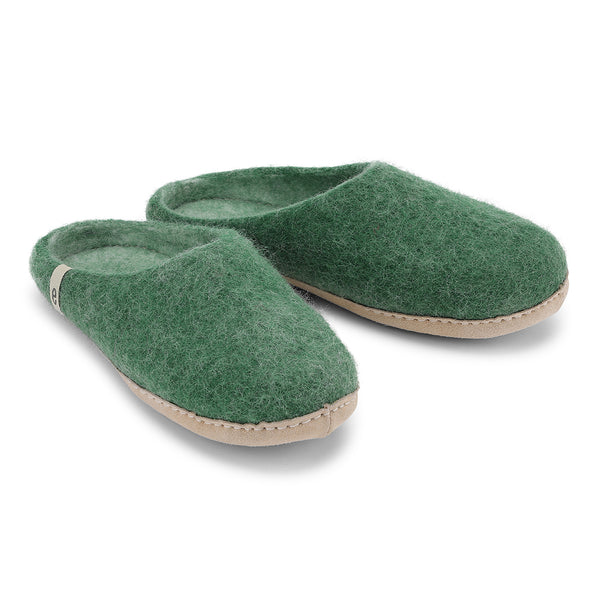 Fair Traded Natural Felted Slippers in Bright Green