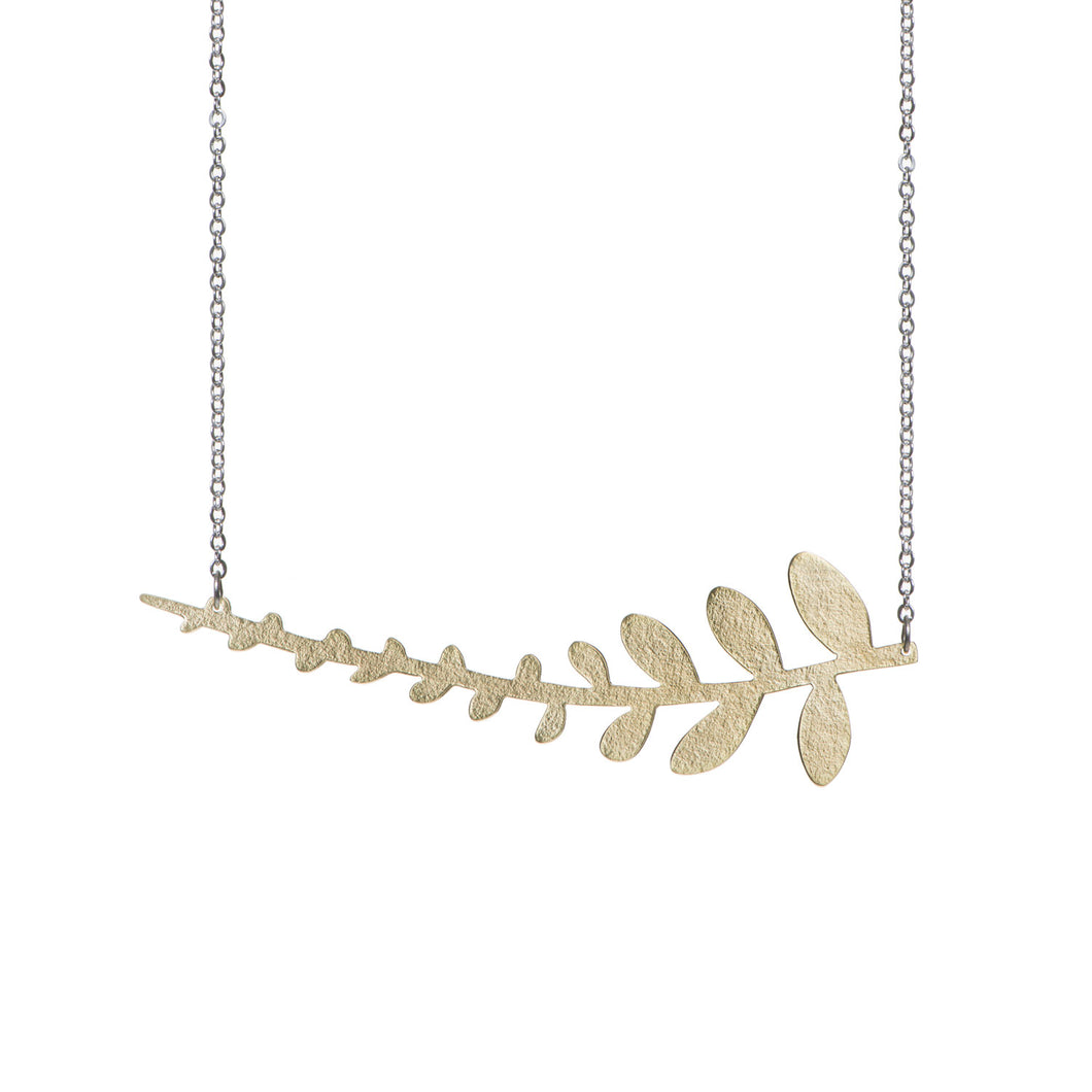 Just Trade Fern Necklace in Brass