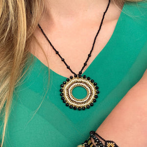 Boho Betty Black and Gold Beaded Necklace
