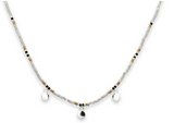 Zelus Grey and Silver Multi Charm Beaded Choker Necklace