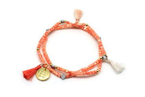 Boho Betty Astrantia Coral Stretch Tassle Bracelet