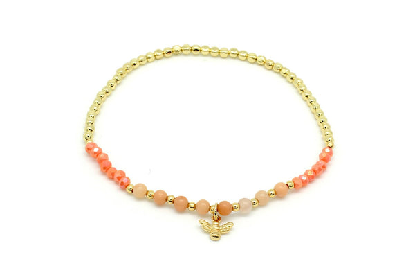 Kiwi Coral stretchy Beaded Bracelet