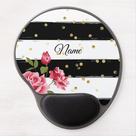 Pink Roses Gold Dots Black & White Stripes Gel Mouse Pad