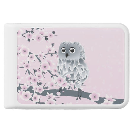 Owl And Cherry Blossoms Pink Gray Power Bank