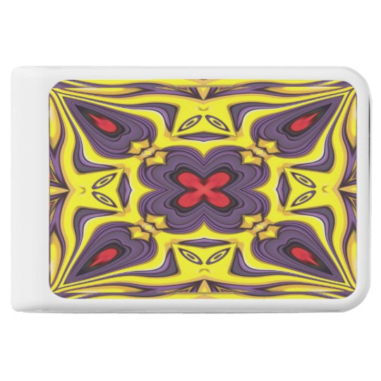 Royal Purple Yellow Vintage Kaleidoscope Power Bank