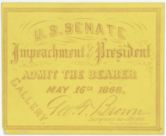 U.S. SENATE Impeachment OF THE President ... May 16th 1868.