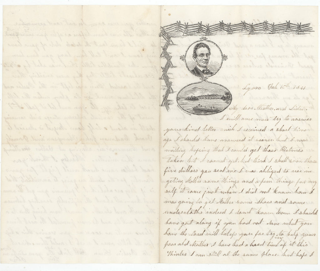 1861 Lincoln lettersheet with handwritten content