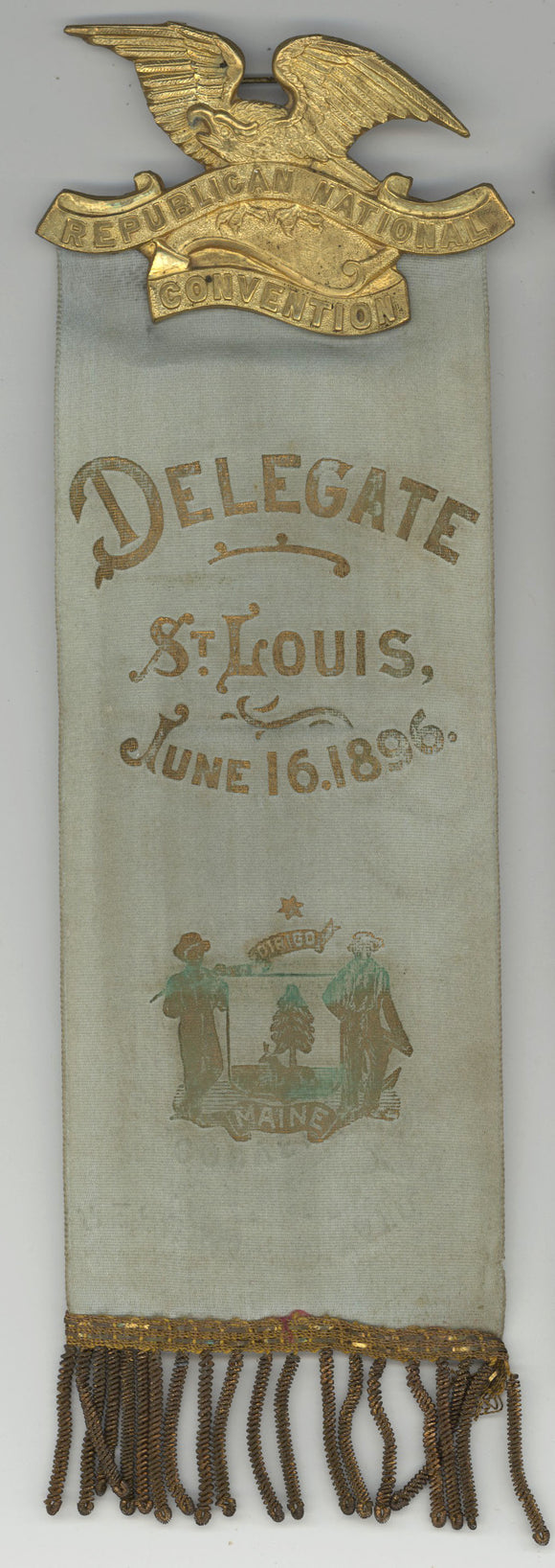REPUBLICAN NATIONAL CONVENTION / DELEGATE ST. LOUIS ... 1896 ... MAINE