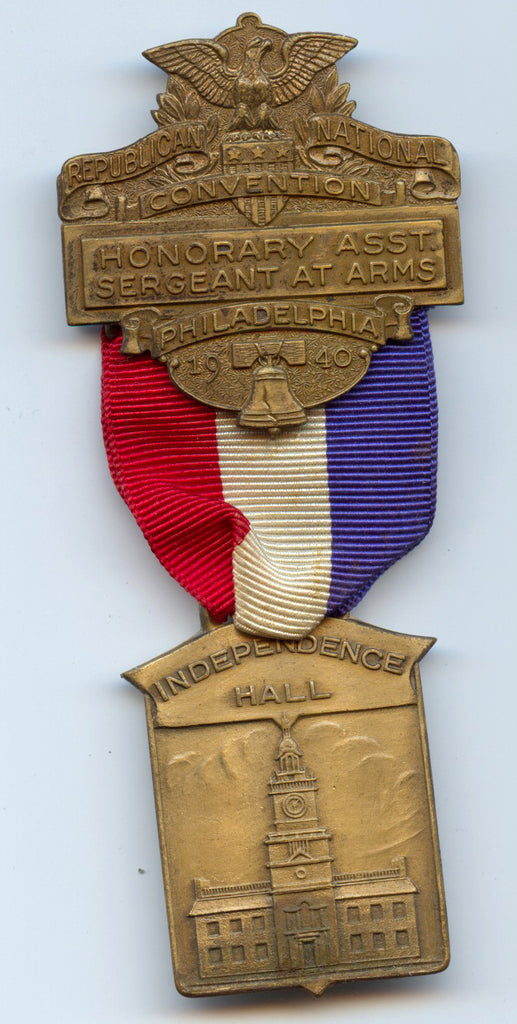 REPUBLICAN NATIONAL CONVENTION HONORARY ASST. SERGEANT AT ARMS 1940