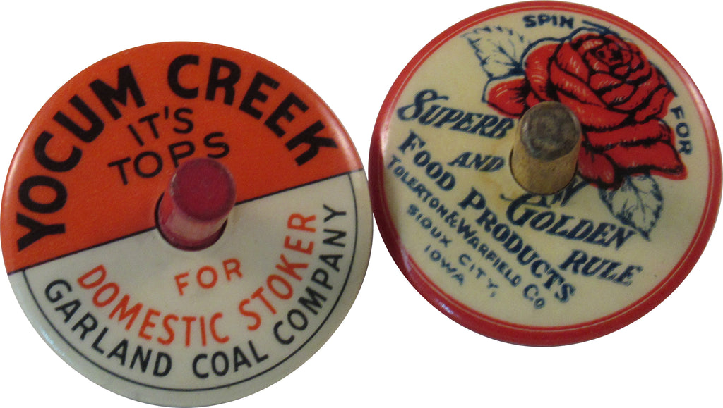 Pair of celluloid advertising tops