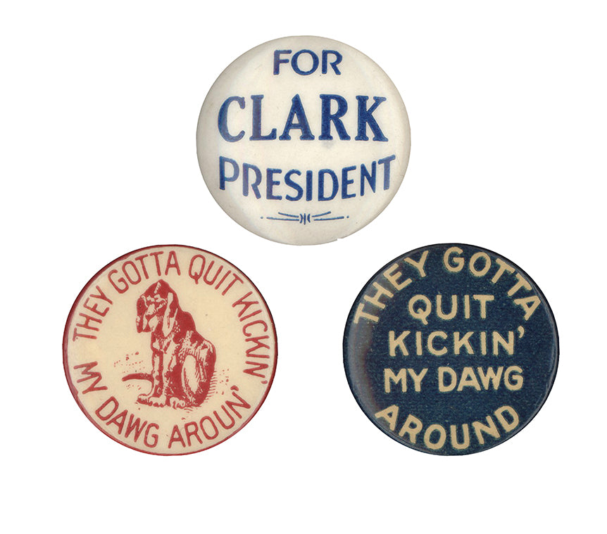 3 different Champ Clark pinback buttons