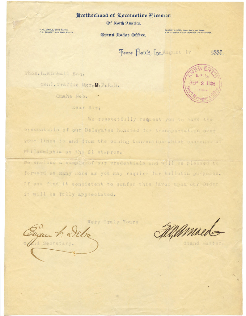 Brotherhood of Locomotive Firemen 1885 typed letter SIGNED Eugene V. Debs