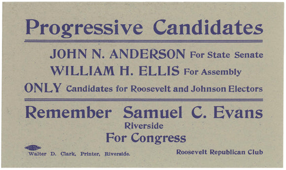Progressive Candidates ... ONLY Candidates for Roosevelt and Johnson Electors