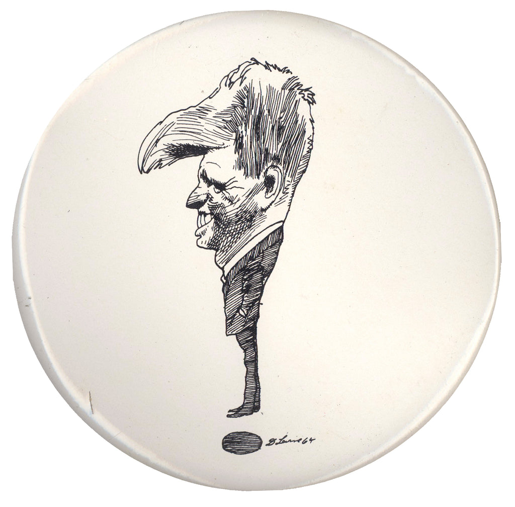 "Robert Kennedy caricature pinback by David Levine (6"")"