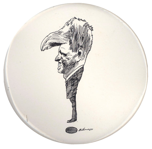 Robert Kennedy caricature pinback by David Levine (6