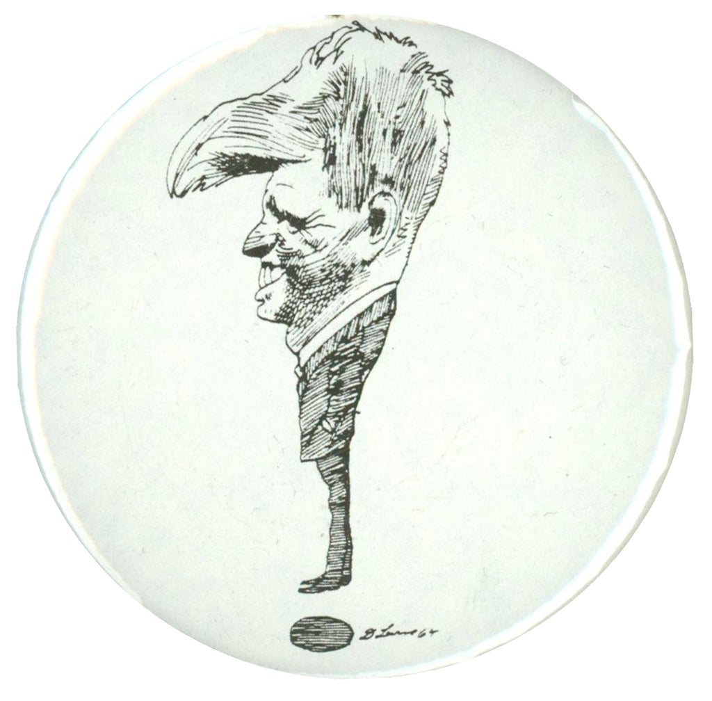 "Robert Kennedy caricature pinback button by David Levine (2 1/2"")"