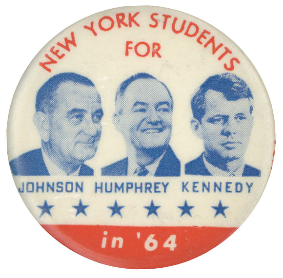 NEW YORK STUDENTS FOR JOHNSON HUMPHREY KENNEDY in '64
