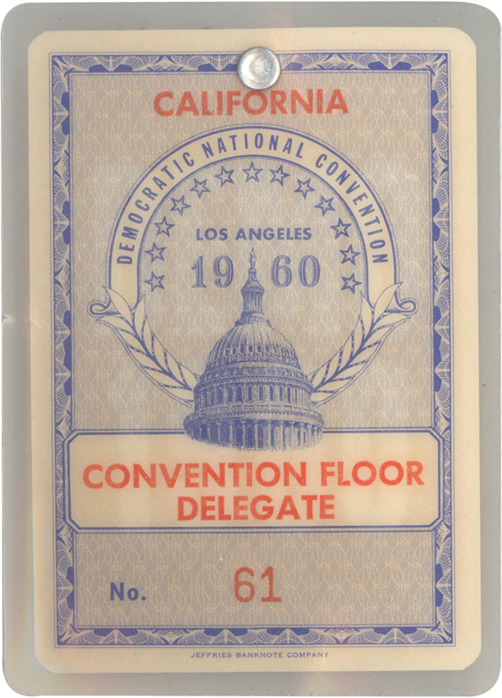 DEMOCRATIC NATIONAL CONVENTION ... 1960 ... CONVENTION FLOOR DELEGATE