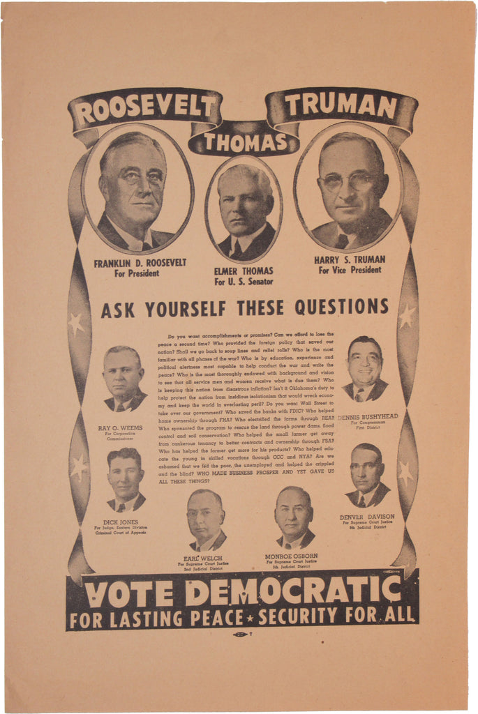 ROOSEVELT THOMAS TRUMAN  VOTE DEMOCRATIC FOR LASTING PEACE ....