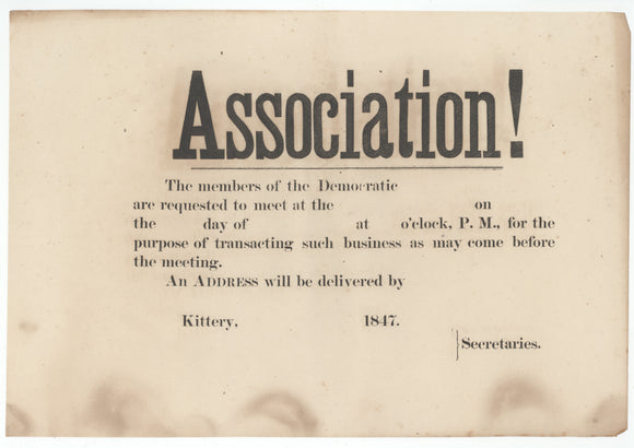 Association!  The member of the Democratic ...  Kittery, 1847