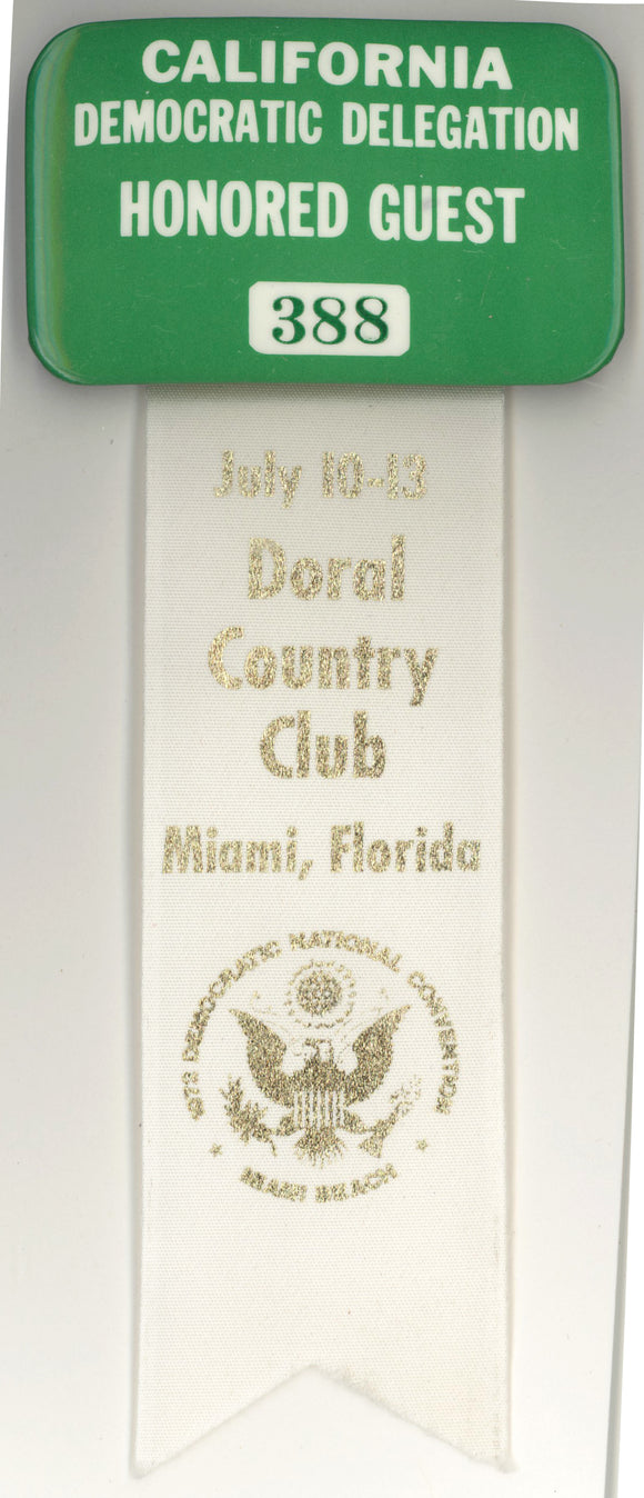 CALIFORNIA DEMOCRATIC DELEGATION HONORED GUEST (1972 DNC) Miami Beach