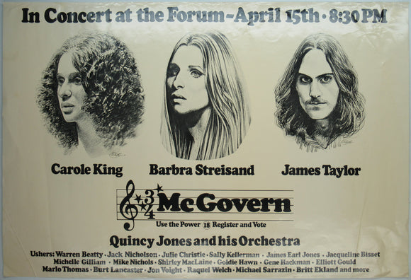 Carole King / Barbra Streisand / James Taylor  McGovern concert poster