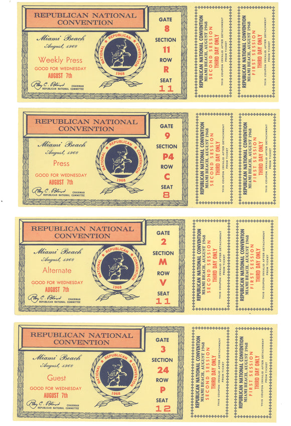 REPUBLICAN NATIONAL CONVENTION Miami Beach August, 1968 (4 tickets)