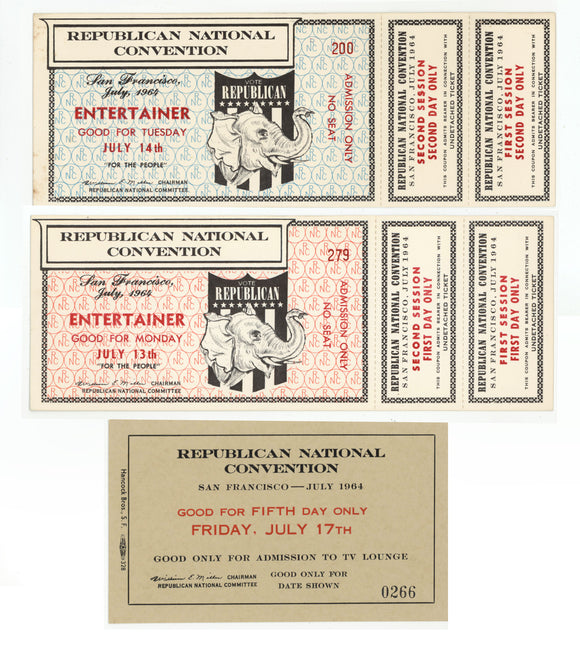3 tickets REPUBLICAN NATIONAL CONVENTION San Francisco, 1964