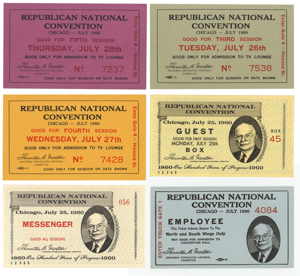 6 different tickets REPUBLICAN NATIONAL CONVENTION  CHICAGO  1960