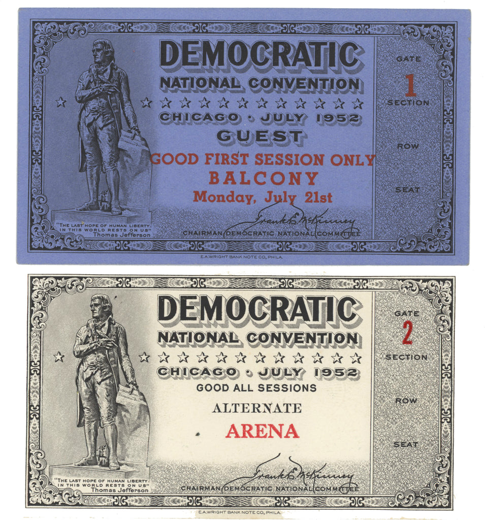 2 tickets (ALTERNATE & GUEST) 1952 DEMOCRATIC NATIONAL CONVENTION CHICAGO